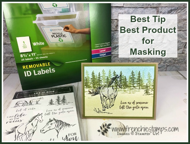 Best tip and best product for masking. This will save you time and frustration when it come masking. Stamp set used to demo this tip is Let it Ride by Stampin'Up! available at frenchiestamps.com