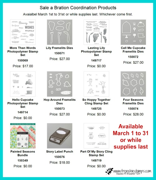 Stampin'Up! new release products to coordinate with some of the sale a bration product. All while supplies last or March 31. More then Words, lily Framelits, Call me Cupcake Thinlits, Hop Around Framelits, Four Seasons Framelits, Story Label Punch. Order at frenchiestamps.com.