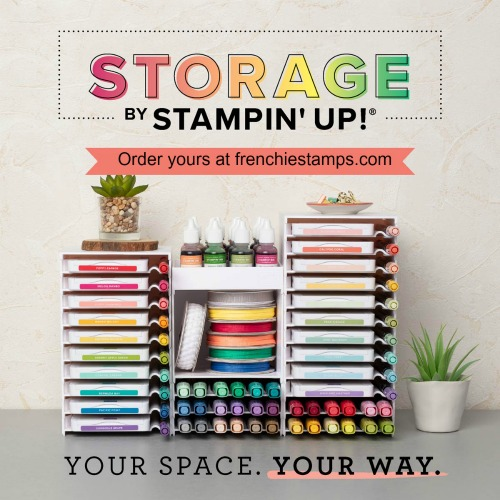 Storage by Stampin'Up! Storage for New ink pad, stampin' Blends and open cube. Available to purchase at frenchiestamps.com