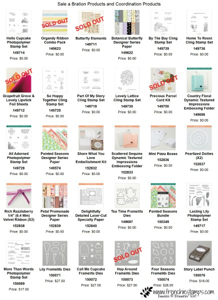 Sale a Bration products  and coordination products list up to date.
