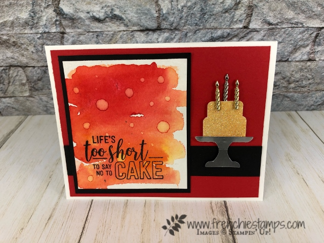Water Drop on Brusho for a cool background.Piece of Cake Bundle and Amazing Life stamp set. All product by stampin'Up! available at frenchiestamps.com