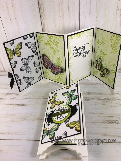 Divider card or Panel card using the Story Label punch and the Botanical Butterfly designer paper. Products by Stampin'Up! available at frenchiestamps.com