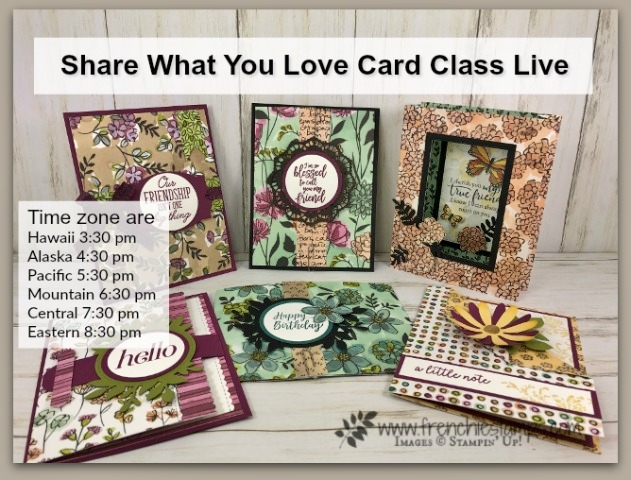 share what You Love Card Class. All different fold and using every print in the Share what You Love Designer Specialty paper . Live on You Tube.