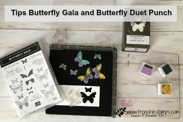 Tip for the Butterfly Gala, Butterfly Duet punch and the Stamparatus. Also tip for stamping spots. All product by Stampin'Up! available at frenchiestamps.com