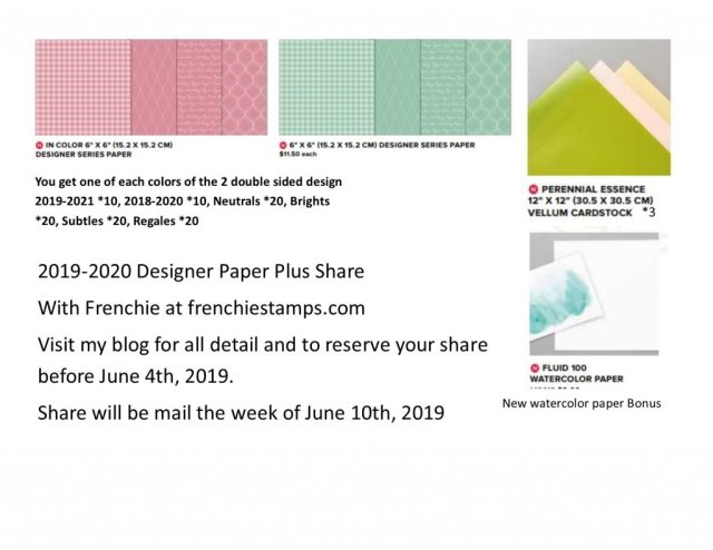 Designer Series Paper from the 2019-2010 Stampin'Up! annual catalog. Reserve your share at frenchiestamps.com Paper Share