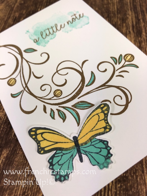 Butterfly Gala, Butterfly Duet Punch and Falling Flowers for a note card. All supplies from stampin'Up! available at frenchiestamps.com