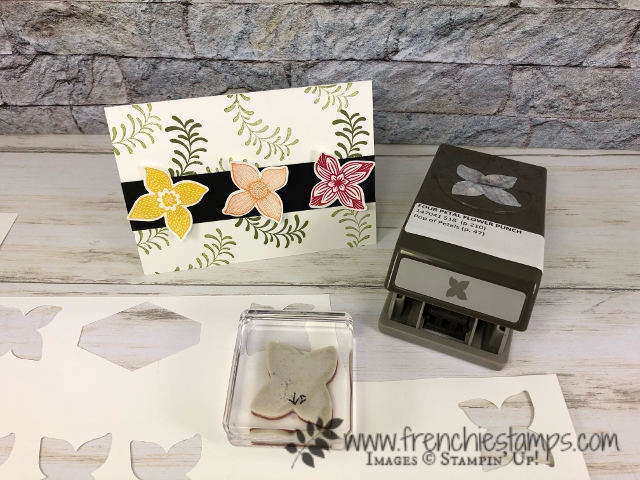 Best to to align Pop of Petal stamp set with the Four Petal flower punch. This tip will save  you some time and frustration. All product by Stampin'Up! available at frenchiestamps.com