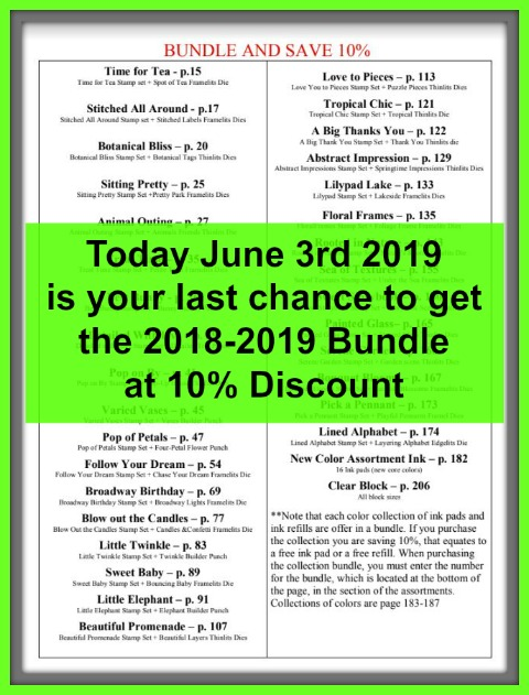 2018-2019 Stampin'Up! annual catalog Bundles at 10% discount. Available at frenchiestamps.com