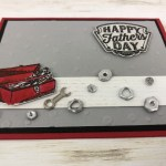 Great masculine card using eh Geared Up Garage bundle and how to make your own nuts and and bolts with dimentionals. This is show case on splitcoaststampers. All product by Stampin