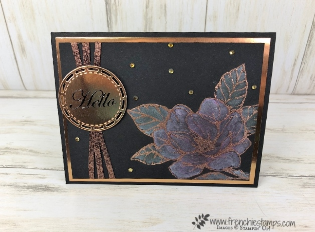 How to do a white wash on Basic Black cardstock and add a splash of color. Stamp set is Good morning magnolia. All product by Stampin'Up! available at frenchiestamps.com