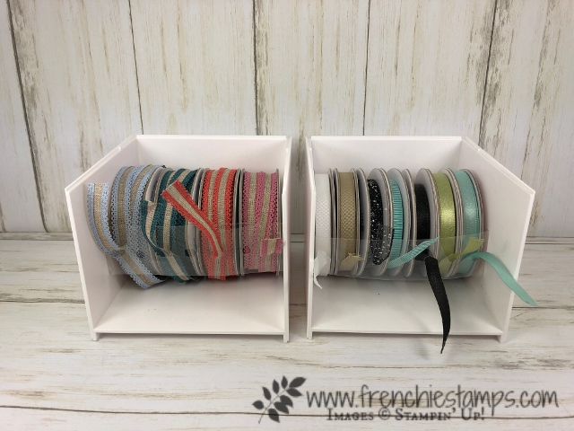 How to make a insert for the Open Storage Cube by Stampin'Up! to hold your ribbons. All product are available at frenchiestamps.com