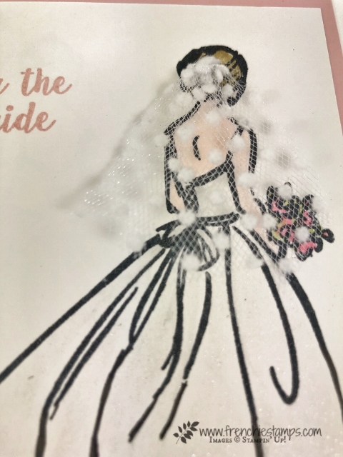 How to altered the wedding dress in Wonderful Moments stamp set. From mid wast to long. All supplies by Stampin'Up! available at frenchiestamps.com