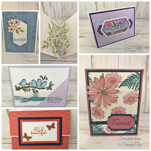 Cards with the Stampin'Up! In-Color 2019-2021  Made by frenchiestamps.com  Purple Posy, Rococo Rose, Terracotta Tile, Seaside Spray, Pretty Peacock