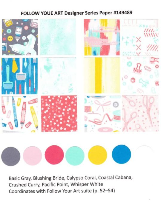 Follow Your Art Designer Paper by Stampin'Up! chart available at frenchiestamps.com