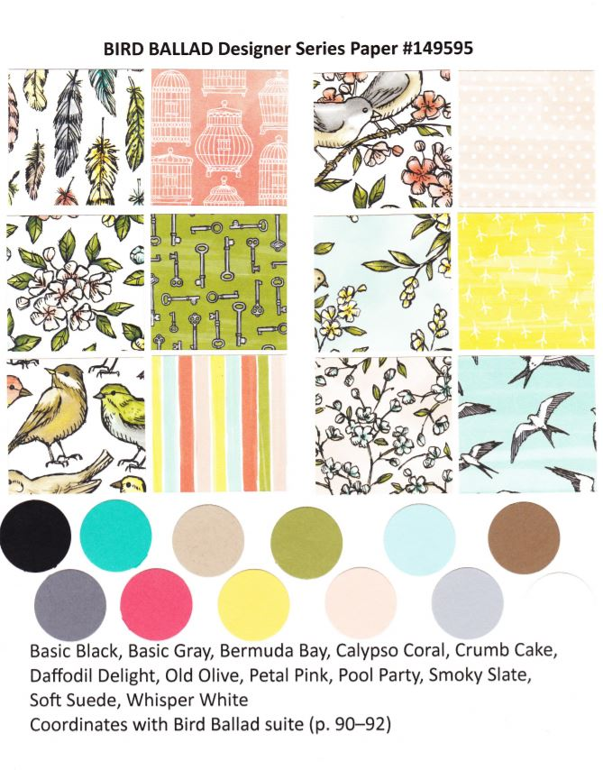 Bird Ballard Designer Paper  by Stampin'Up! available at Frenchiestamps.com