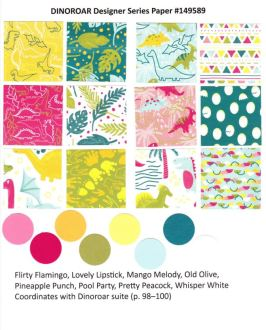 Dinoroar Designer Paper by Stampin'Up! chart available at frenchiestamps.com