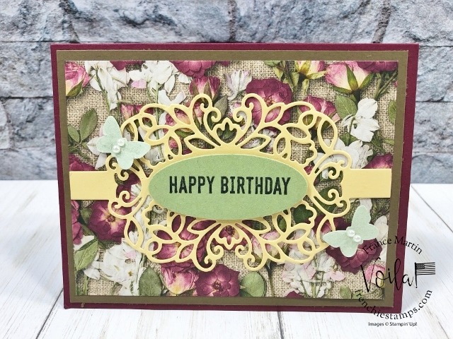 Detailed Band with Itty Bitty Birthday. Great combination all together. All supplies by stampin'Up! available at frenchiestamps.com #stampinup #stamping #frenchiestamps #cardmaking #papercrafts #handmadecards #detailedbandsdies