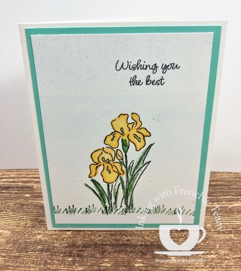 Swaps with Frenchie' Team. Stamp set  Inspiring Iris, All supplies by Stampin'Up! available at frenchiestamps.com