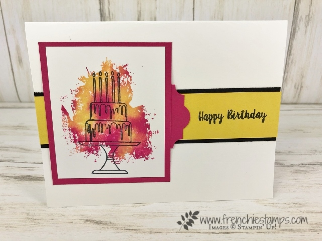 Baby Wipe technique for the background. Birthday card using the Piece of Cake and Artisan Textures stamp sets. Products by stampin'Up! available at frenchistamps.com  #stampinup #stamping #frenchiestamps #cardmaking #papercrafts #handmadecards