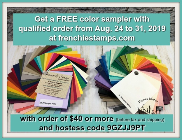 Stampin'Up! colors sampler.  How to qualified to get a free color sampler including all current Stampin'Up! colors. Get yours at frenchiestamps.com