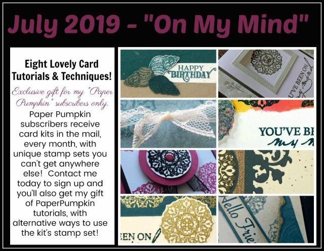 Extra inspiration to use the On My Mind Paper Pumpkin Stamp Set in July 2019 Kit. stampin'Up! Paper Pumpkin kit available at frenchiestamps.com  #stampinup #stamping #frenchiestamps #cardmaking #papercrafts #handmadecards #stampingtechniquehowtovideo #paperpumpkin
