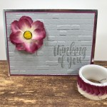 How to make a lovely flower with the Pressed Petals Specialty Washi Tape. The background is using the Brick and mortar embossing folder. All supplies is by Stampin