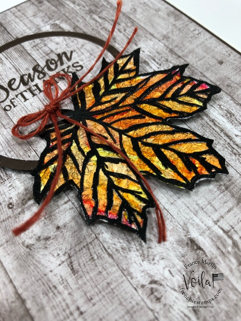 Stain Glass Foil Leaf on window Sheet. Stamp set Gather Together.