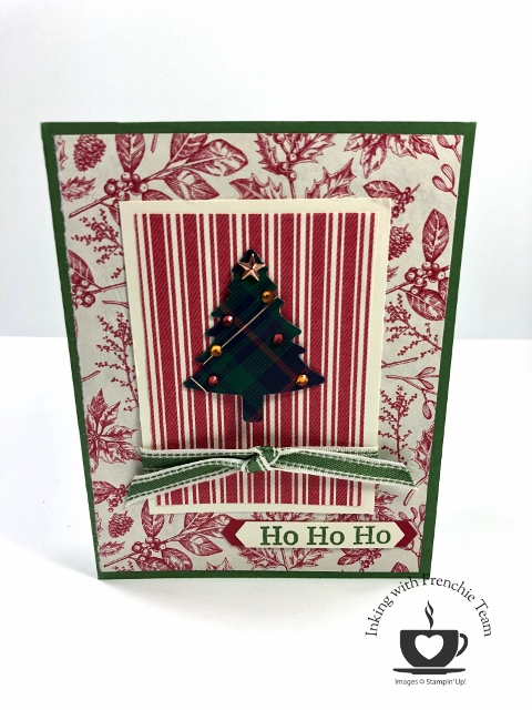 Frenchie Team Challenge cards using the Toile Tidings Gift Wrap paper.