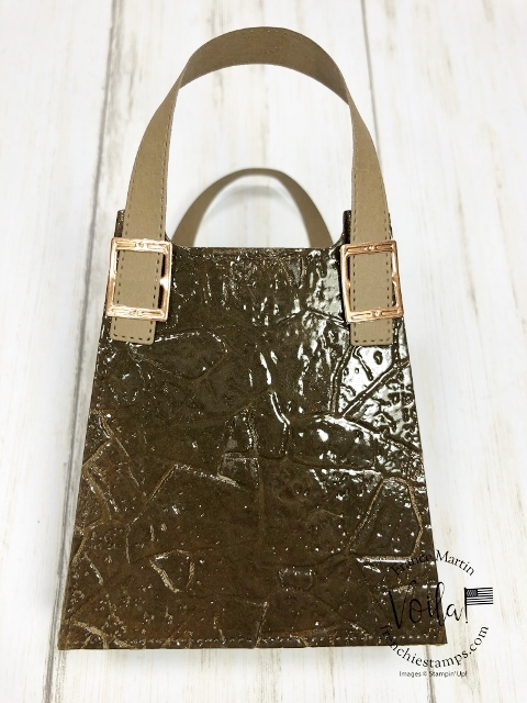 Faux Crocodile Leather Purse with the All Dress Up Die and the Stone 3D Embossing Folder.
