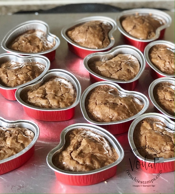 Hearts Peanut Butter Brownies or Fudge Brownies in the Heart Foil Tin by Stampin'Up