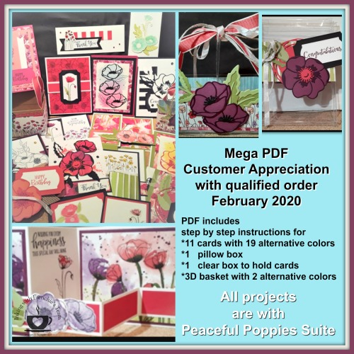 14 projects with 21 alternative colors using the Peaceful Poppies Suite for February customer appreciation at frenchiestamps.com