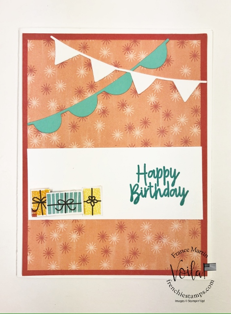 Frenchie Visit at Stampin'Up! home office. Fun battle of the stamp Birthday Bonanza with Sara CEO of Stampin'Up! and her hubby Sean.