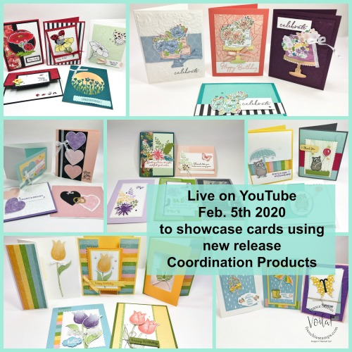 New release coordination product by Stampin'Up! February 4th 2020.  Live on YouTube to share many cards using the new product and tips and fun fold.