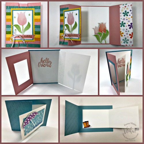 Pleased As Punch Designer paper with the Tulip Builder, Umbrella Builder Punch. Fun Fold  cards.