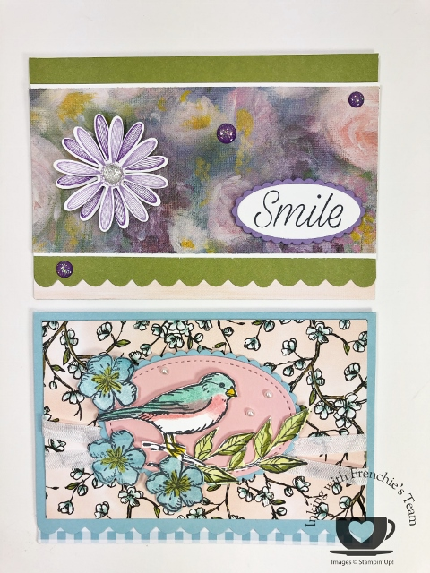 Showcase of variation of the Scalloped Note Cards with Frenchie' team.