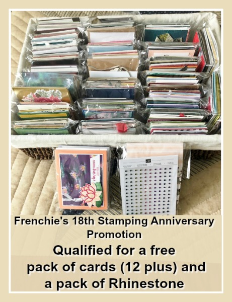 Frenchie's 18th Stamping Anniversary Promotion, Free pack of Card and Rhinestones and giveaways