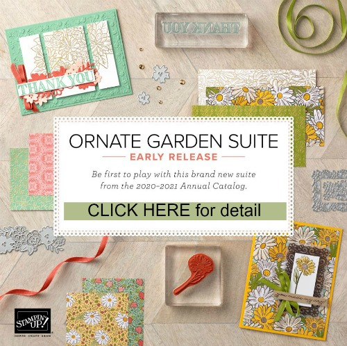 Ornate Garden Suite new release by Stampin'Up! Available at www.frenchiestamps.com