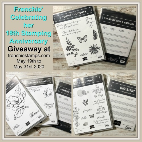 Giveaways at frenchiestamps.com. Beauty Abounds with Butterfly Beauty Die, Good Morning Magnolia with Magnolia Memory Die, Positive Thoughts with Nature's Thoughts dies.