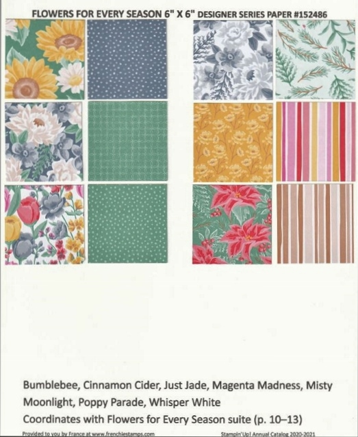 Flowers for Every Seasons Designer Paper Chart for Stampin'Up! 2020-2021 Annual catalog.