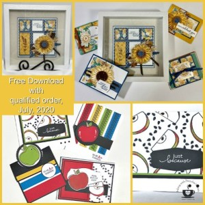 Frenchie's Customer Appreciation for the month of July. Feature stamp set Celebrate Sunflowers. Lovely You and Harvest Hellos.