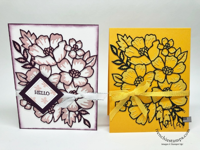 Simple Card With The Many Layered Blossoms Die In Two-Tone.
