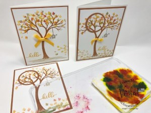 Life is Beautiful fall card, baby wipe and spotlight technique