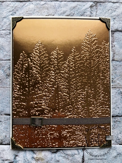 Emboss Foil paper with Evergreen Forest Embossing Folder. .