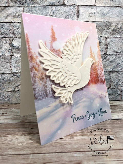 Detailed Dove Die for Christmas Card on the Feels Like Frost Designer Paper.