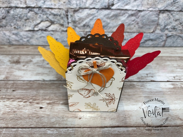 Turkey Box with the Little Treat Box die and the Stitched Leaves Dies.