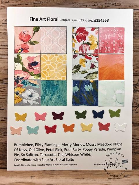 Designer Paper 2021 Fine Art Floral chart with coordination colors.