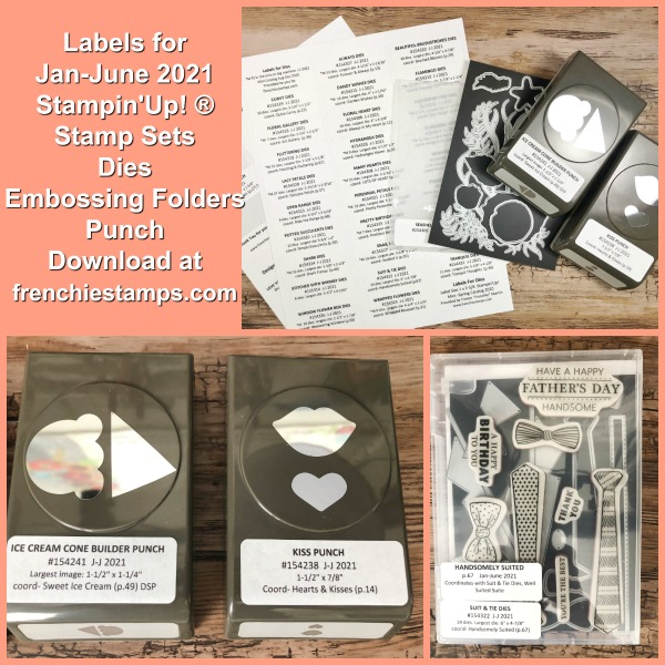 Organize your Stampin'Up! 2021 Mini Catalog product with labels for Punches, Dies, Embossing Folder and Stamp Sets.