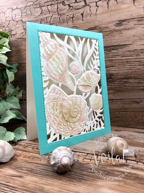 Open Frame with Seaside Seashells Dies, Seashells 3D embossing Folder