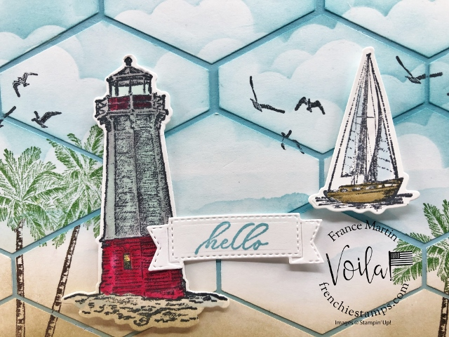 Tailored Tag Punch Ocean Scenery Patchwork greetingcard.