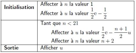 Primitives, exponentielle, suite, algorithme, limite, terminale